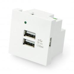 Gniazdo podtynkowe 250V ładowarka 2x USB 45x45mm 2,1A - białe