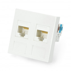 Wall socket 45x45mm 2x RJ45+ Keystone Kat.6 UTP - white