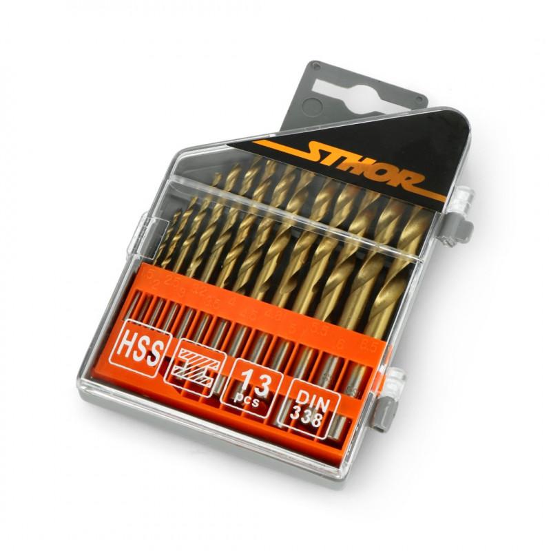 Set of 13 Titanium metal drill bits 1.5-6.5mm Sthor 22300