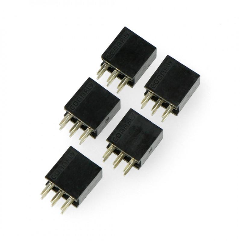Female socket 2x3, 2,54mm pitch - 5pcs