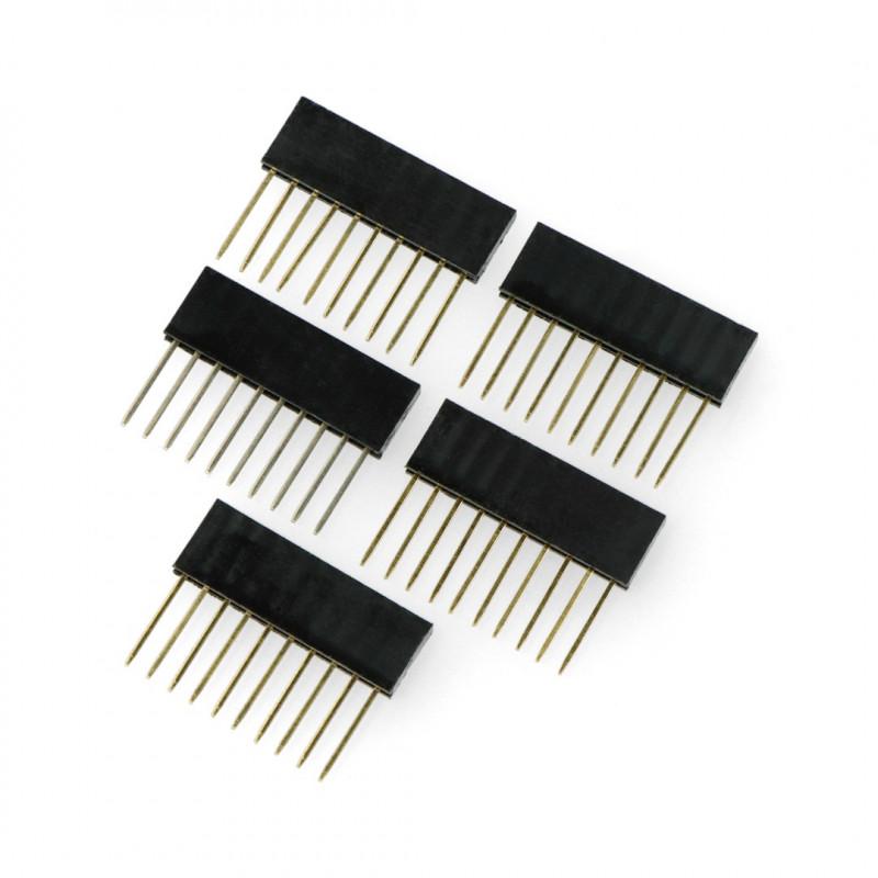 Gniazdo żeńskie przedłużone 1x10 raster 2,54mm dla Arduino - 5szt.