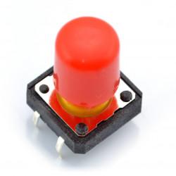 Tact Switch 12x12 mm z nasadką długi - czerwony