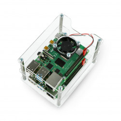 Case for two Raspberry Pi 4B/3B+/3B/2B/Zero - with two fans - transparent open V2