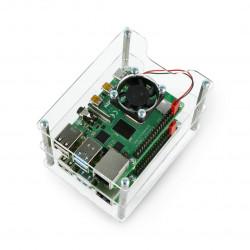 Obudowa do dwóch Raspberry Pi 4B/3B+/3B/2B/Zero - z dwoma wentylatorami - otwarta V2 przezroczysta