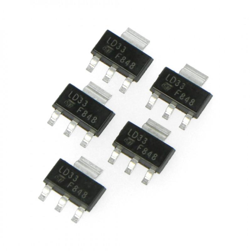 Stabilizator LDO 3,3V LM1117MP - SMD SOT223 - 5szt.