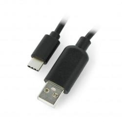 Przewód USB A - USB C z przełącznikiem On/Off czarny - 0,9m