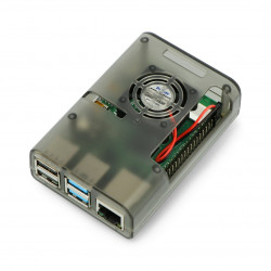 Case for Raspberry Pi with 4 IN fan gray transparent