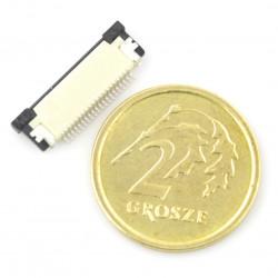 Złącze żeńskie ZIF, FFC/FPC, poziome 20 pin, raster 0,5 mm, górny kontakt