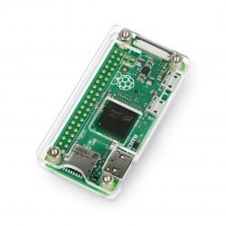 Obudowa Raspberry Pi Zero - otwarta - przezroczysta + radiator