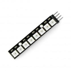 Listwa LED RGB WS2812 5050 x 8 diod - 53mm - wlutowane złącza