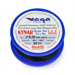 KYNAR assembly wire of silver-plated copper - 0,25mm/AWG 30 - black - 50m