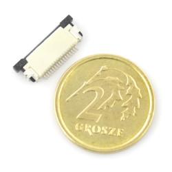 Złącze żeńskie ZIF, FFC/FPC, poziome 16 pin, raster 0,5 mm, górny kontakt