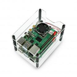 Obudowa do dwóch Raspberry Pi 4B/3B+/3B/2B - z dwoma wentylatorami - otwarta V2 przezroczysta - czarne dystanse