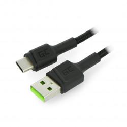 Przewód Green Cell Ray USB 2.0 typ A - USB 2.0 typ C z podświetleniem - 1,2 m czarny z oplotem