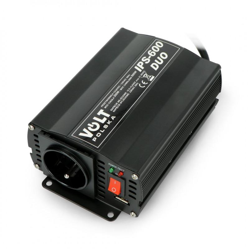 Przetwornica DC/AC step-up 12/24VDC / 230VAC 300/600W - samochodowa - Volt IPS-600 Duo