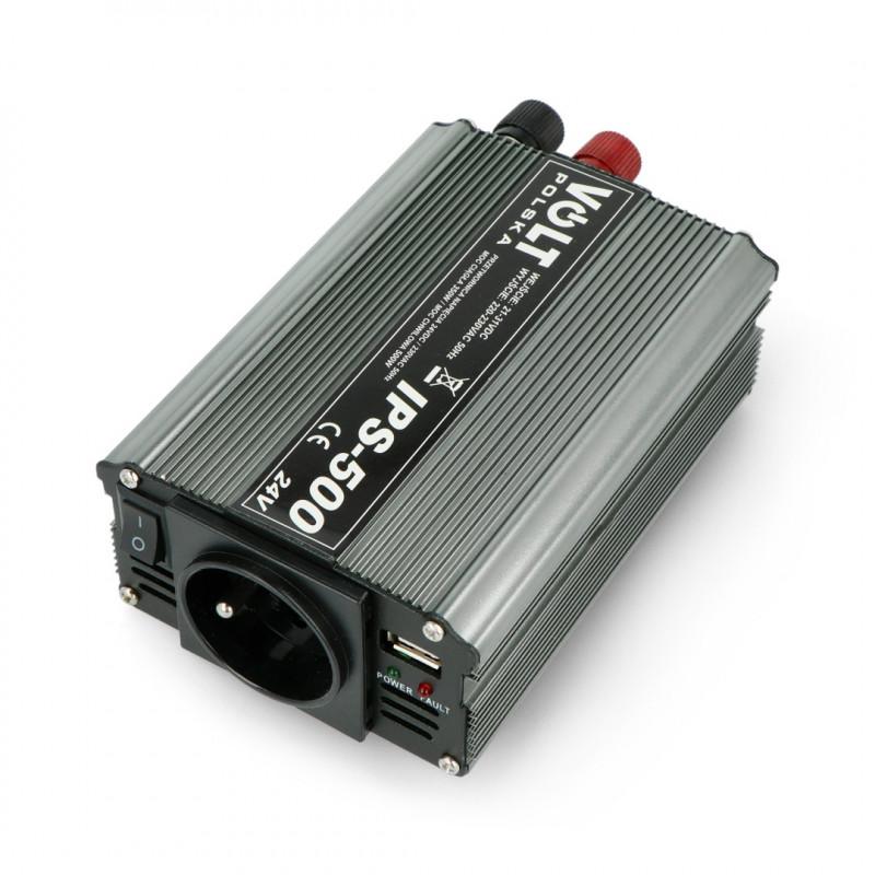 Przetwornica DC/AC step-up 24VDC / 230VAC 350/500W - sinus - Volt IPS-500