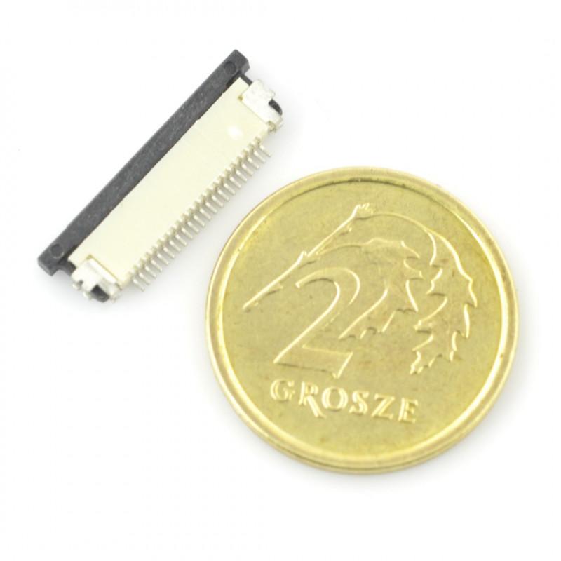 Złącze żeńskie ZIF, FFC/FPC, poziome 22 pin, raster 0,5 mm, dolny kontakt