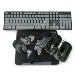 4in1 Natec Tetra wireless set keyboard + mouse + speakers + US pad - black and gray