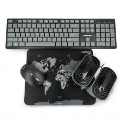 Zestaw bezprzewodowy 4w1 Natec Tetra klawiatura + mysz + głośniki + podkładka US - czarno szare