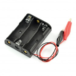Koszyk na 3 baterie typu AA (R6) z krokodylkami
