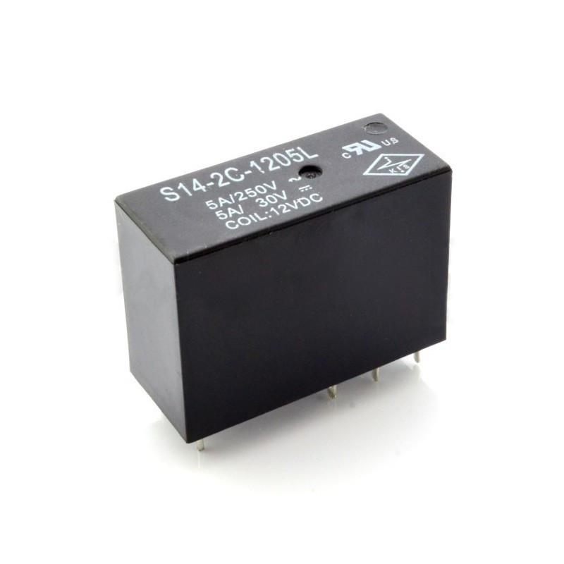 Relay S14-2C-1205L - coil 12V, contacts 2x 5A / 250VAC*