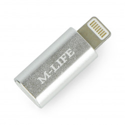 Adapter gniazdo microUSB - wtyk Apple Lightning - jasna