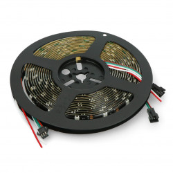 Pasek LED RGB WS2812B - cyfrowy, adresowany - IP65 30 LED/m, 9W/m, 5V - 5m - czarny