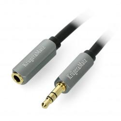 Przewód Kruger&Matz wtyk Jack 3,5mm - gniazdo Jack 3,5mm stereo czarny - 1,8m