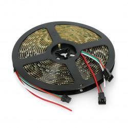 Pasek LED RGB WS2812B - cyfrowy, adresowany - IP65 60 LED/m, 18W/m, 5V - 5m - czarny