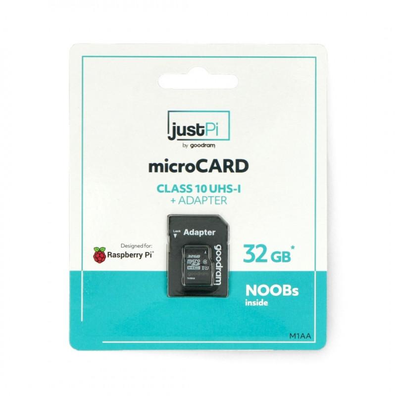 Karta pamięci justPi microSD 32GB 100MB/s klasa 10 + system NOOBs dla Raspberry Pi 4B/3B+/3B/2B