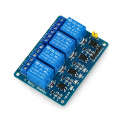 Relay module 4 channels, with optical isolation - contacts 7A/240VAC - coil 5V