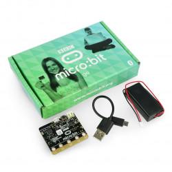 Micro:bit Go - moduł edukacyjny, Cortex M0, akcelerometr, Bluetooth, matryca LED 5x5 + akcesoria