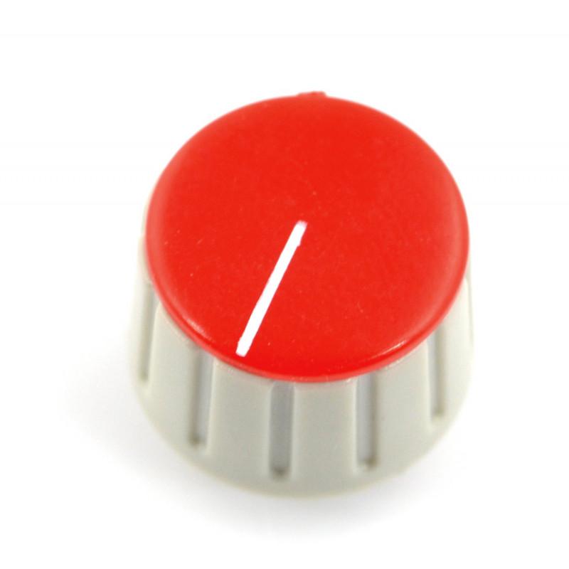 Gałka potencjometru GS18 szaro-czerwona - 6/18mm