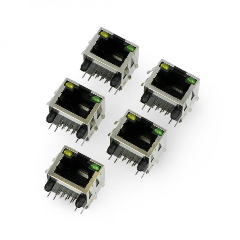 Gniazdo sieciowe 8P8C RJ45 ekranowane z diodami LED - 5szt.