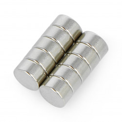 Magnes neodymowy okrągły N35/Ni 6x3mm - 10 szt.