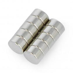 Round neodymium magnets N35/Ni 6x3mm - 10 pcs.