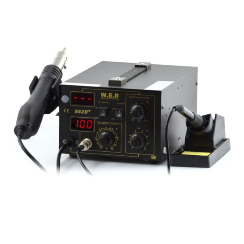 Soldering station 2in1 hotair and tip-based WEP 852D+ with fan in iron_