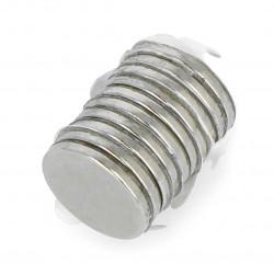 Magnes neodymowy okrągły z warstwą klejącą N N35/Ni - 10x1mm