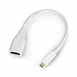 micro HDMI - HDMI adapter - original for Raspberry Pi 4B - 235mm - white