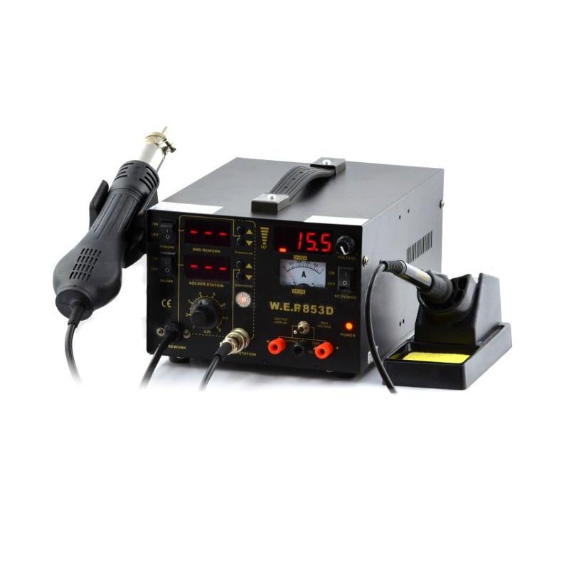 Stacja lutownicza 5w1 hotair, grotowa + zasilacz 15V/1A WEP 853D z wentylatorem w kolbie