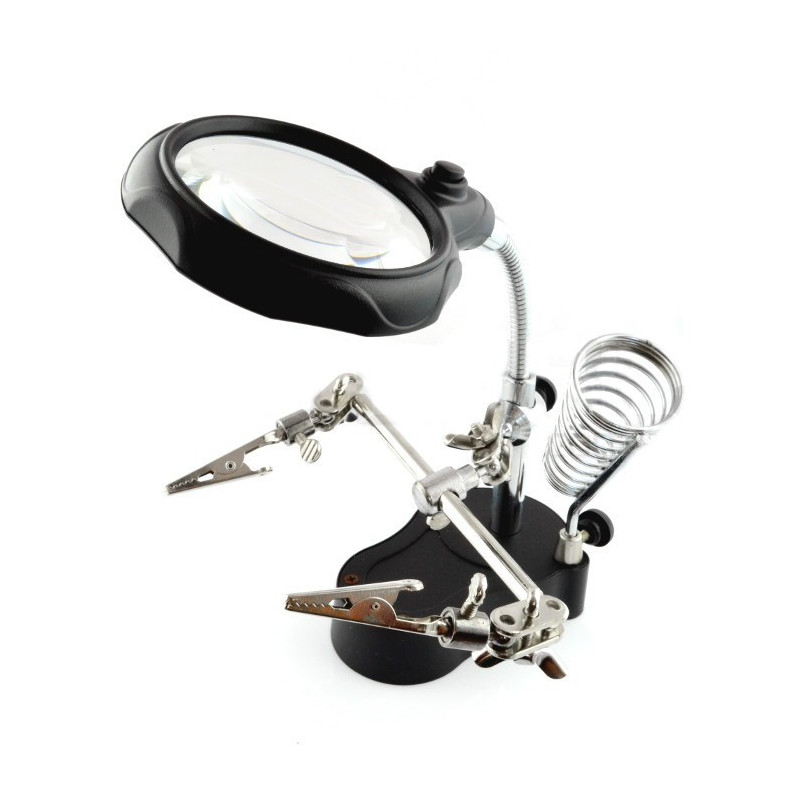 Helping hand - Holder with magnifying glass and LED backlight - ZD-126-2_