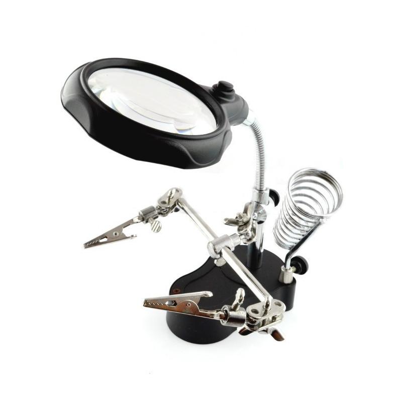 Uchwyt z lupą i podświetleniem LED - trzecia ręka ZD-126-2