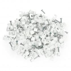 Cable holder rectangle 4/4mm - white, 100 pcs
