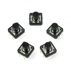 Tact Switch 12x12, 11mm THT 4pin - czarny