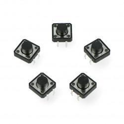 Tact Switch 12x12, 7mm THT 4pin - czarny