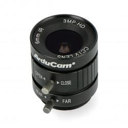 Obiektyw szerokokątny CS Mount 6mm z manualnym fokusem - do kamery Raspberry Pi - ArduCam LN037