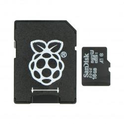 Karta pamięci SanDisk microSD 16GB 80MB/s klasa 10 + system Raspbian NOOBs dla Raspberry Pi 4B/3B+/3B/2B
