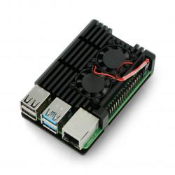 Obudowa do Raspberry Pi 4B - aluminiowa z dwoma wentylatorami - czarna