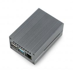 Obudowa do Raspberry Pi 4B z wentylatorem - metalowa - szara