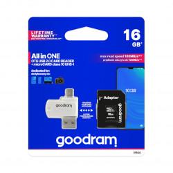 Goodram All in One - karta pamięci micro SD / SDHC 16GB klasa 10 + adapter + czytnik OTG